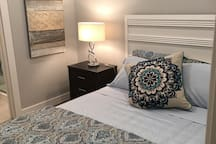 Queensize bedroom with ensuite, beautiful linens with a very comfortable semi firm foam topper. Super comfortable!