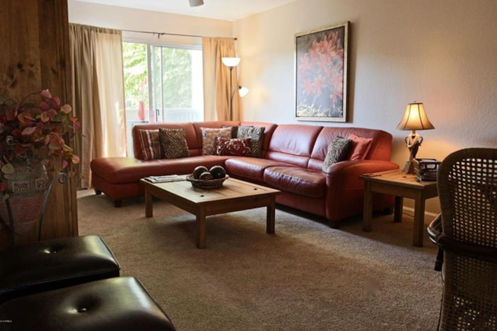 Spacious living room with sofa bed.
