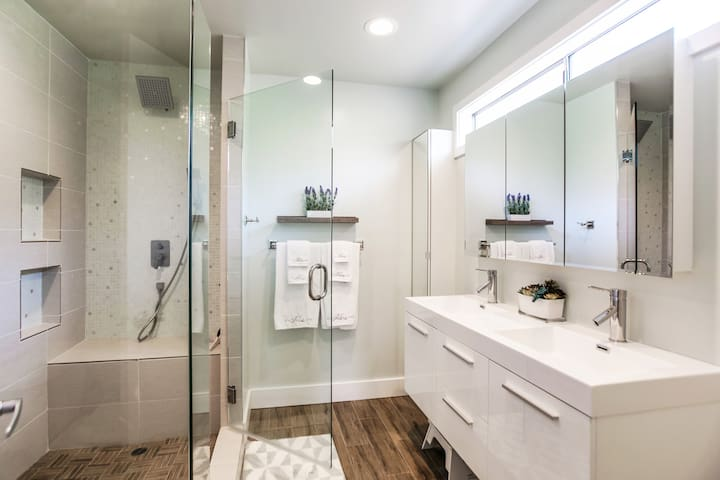 Master Ensuite with Rain Shower and Dual Vanity