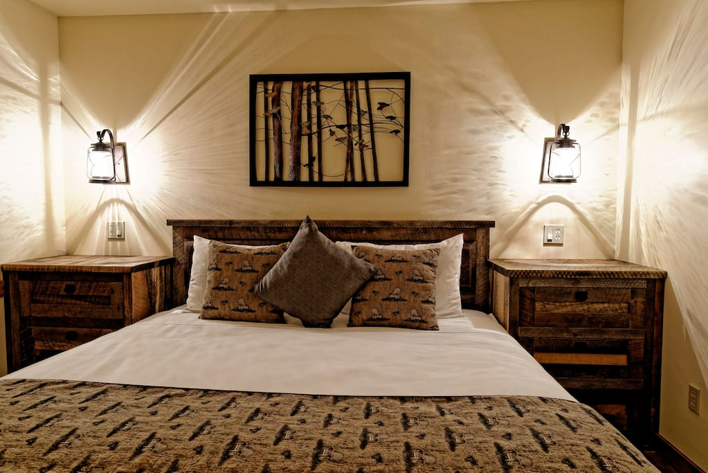 Custom made Eastern King bed and very high-end comfy linens.
