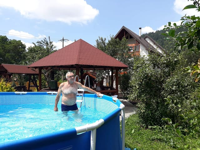 Modern mountin village chalet in Carpathians