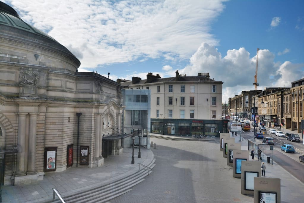View from kitchen window onto the Plaza in front of the 'Usher Hall
