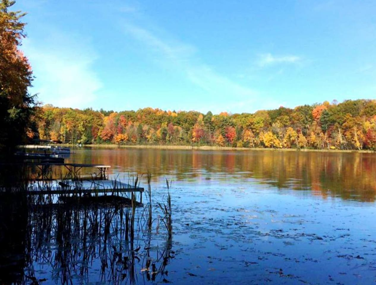 Peak fall colors from the dock. Like a dream.