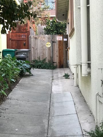 Pathway towards backdoor access: On the left side of the house as you are facing the house.