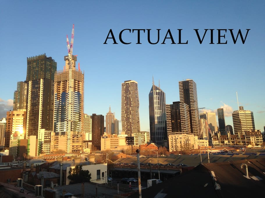 Rooftop deck city views
