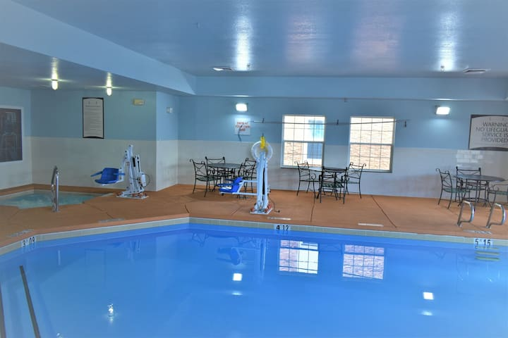 Great for Business or Leisure!   Free Daily Breakfast, Indoor Pool + Hot Tub Access