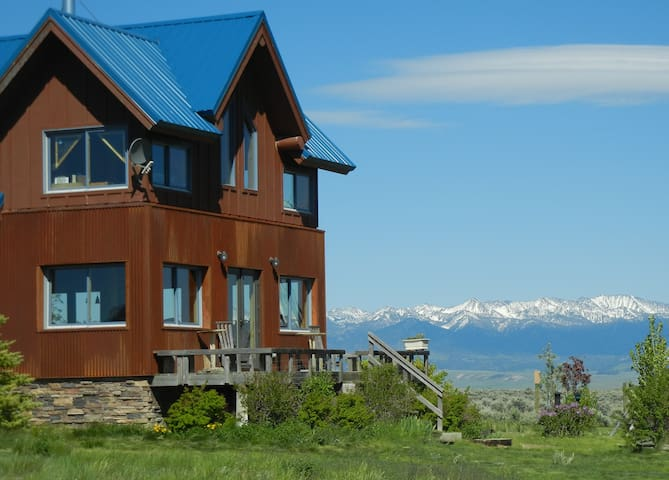 Our many windows offer views of the Crazy Mountains as does the south-facing deck.