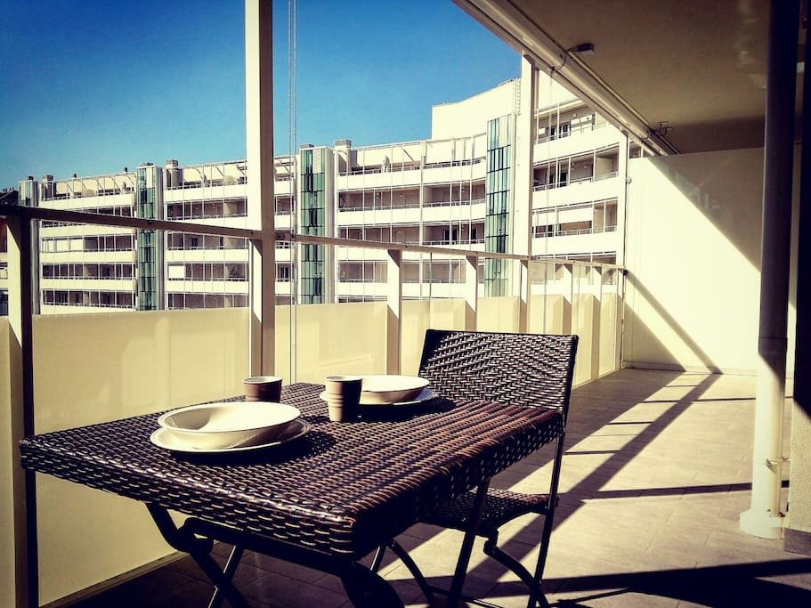 The spacious balcony and the warmth of the April sun
