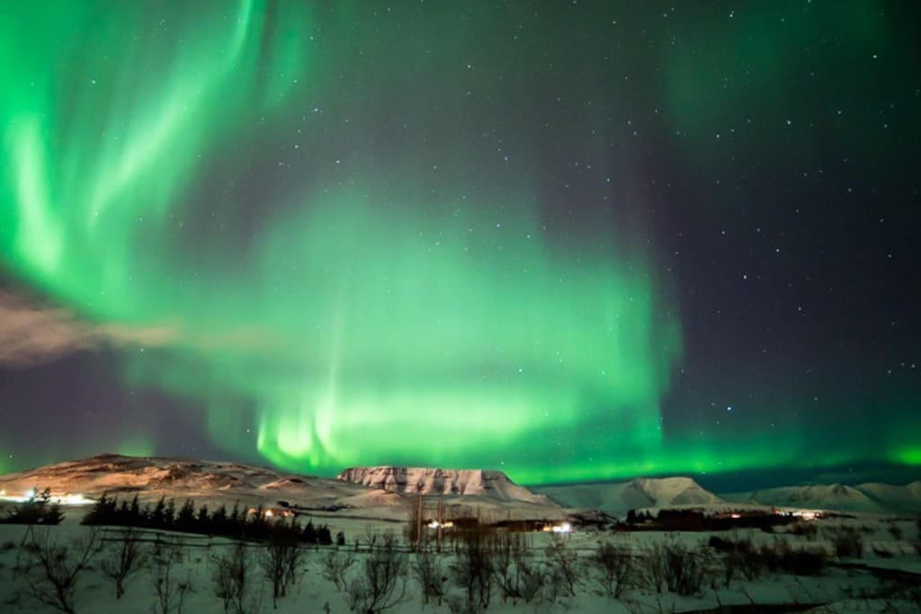 During the winter, the northern lights often dance above the Mosfellsdalur Valley, enjoy the experience of evenings in the hot tub with this natural light show in the skies.