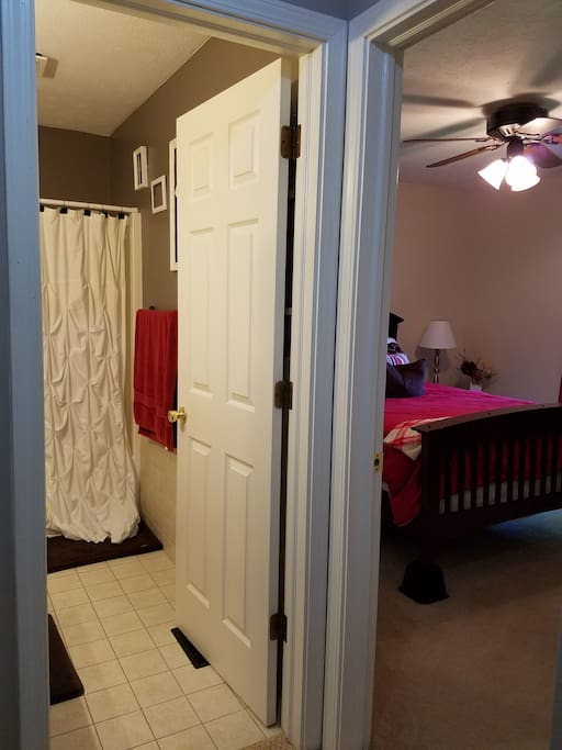 Restroom is right next to the bedroom