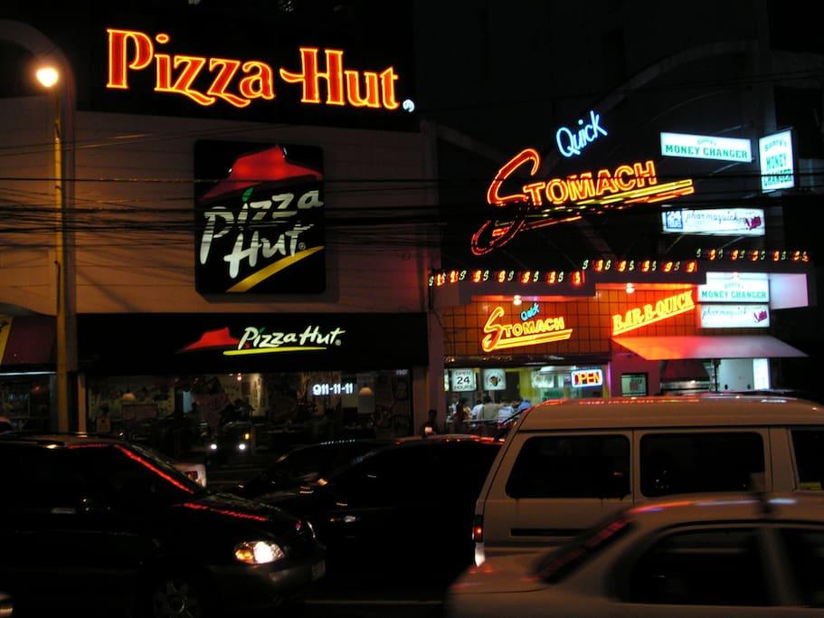 Walking distance to various eating establishments.