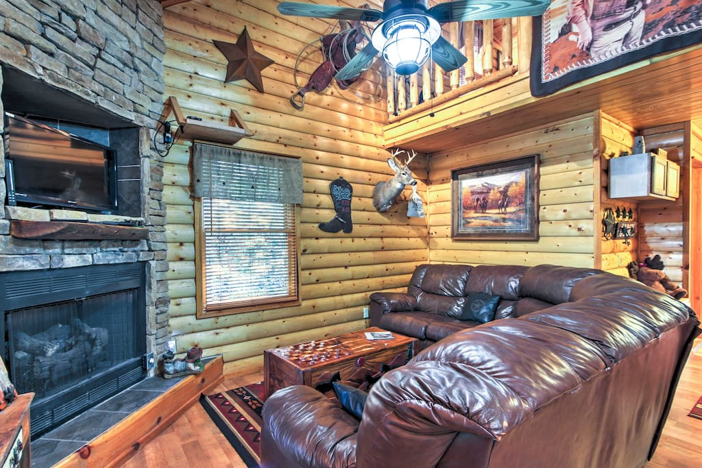 You'll have 2 stories of charming living space, complete with western decor.