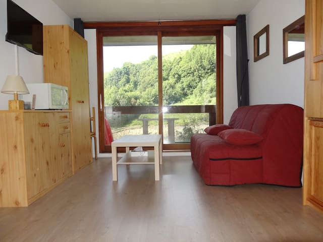 Studio tout confort balcon sud vue sur piste+wifi