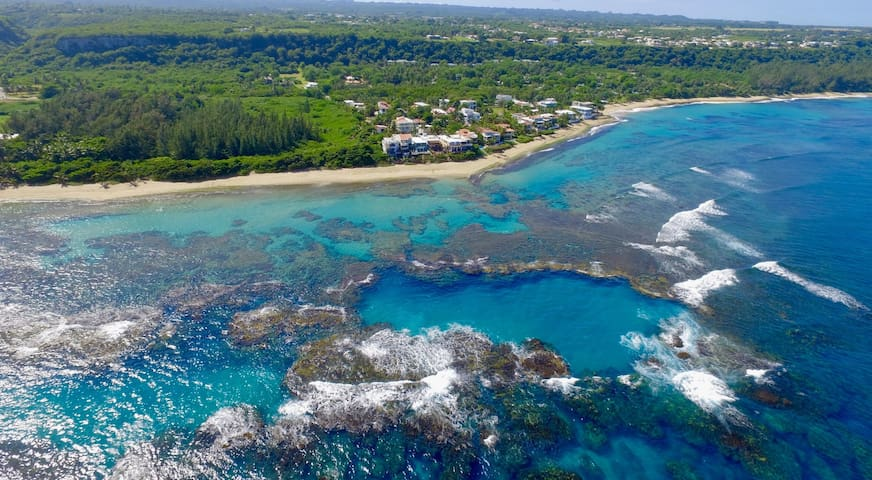 Villa Rivera on Shacks Beach!!   Best snorkelling, surfing, kiting and lyfting beach on the island.