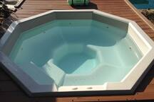 8 Person Hot Tub piping hot for use year round. Located on upper level of backyard paradise overlooking the Pool