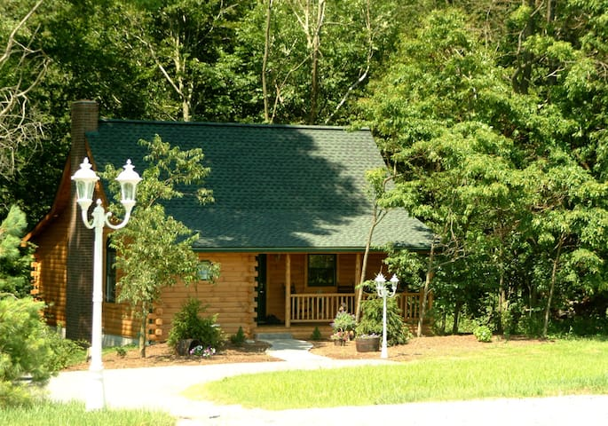 Beautiful Cabin Overlooking Wooded Stream with Hot Tub, Kitchen, Fireplace, and Jacuzzi