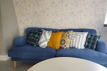 Our soft , blue sofa
