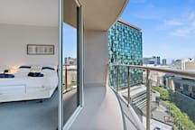 Main Bedroom with private balcony and Yarra views