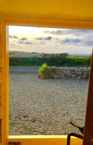 View from cottage looking through the traditional half door.