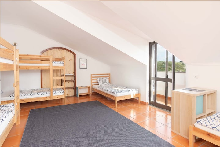 8 Bed Dorm Room with Balcony and Sea View
