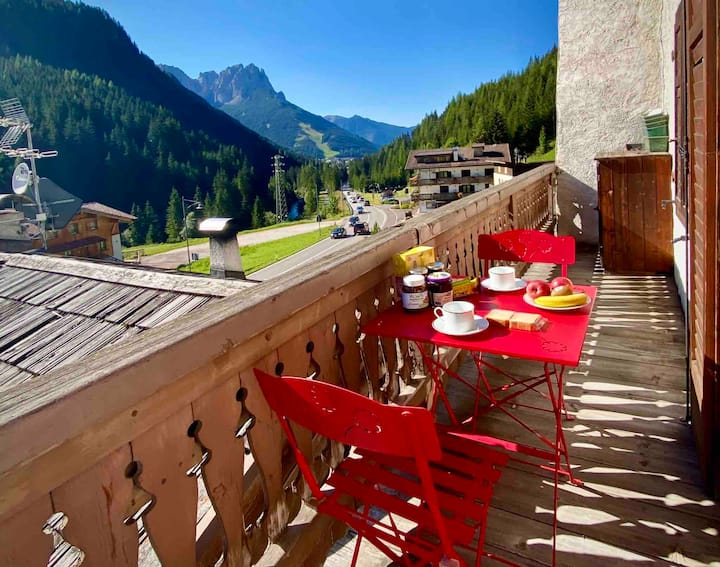 Lovely Balcony on the Val di Fassa Dolomites