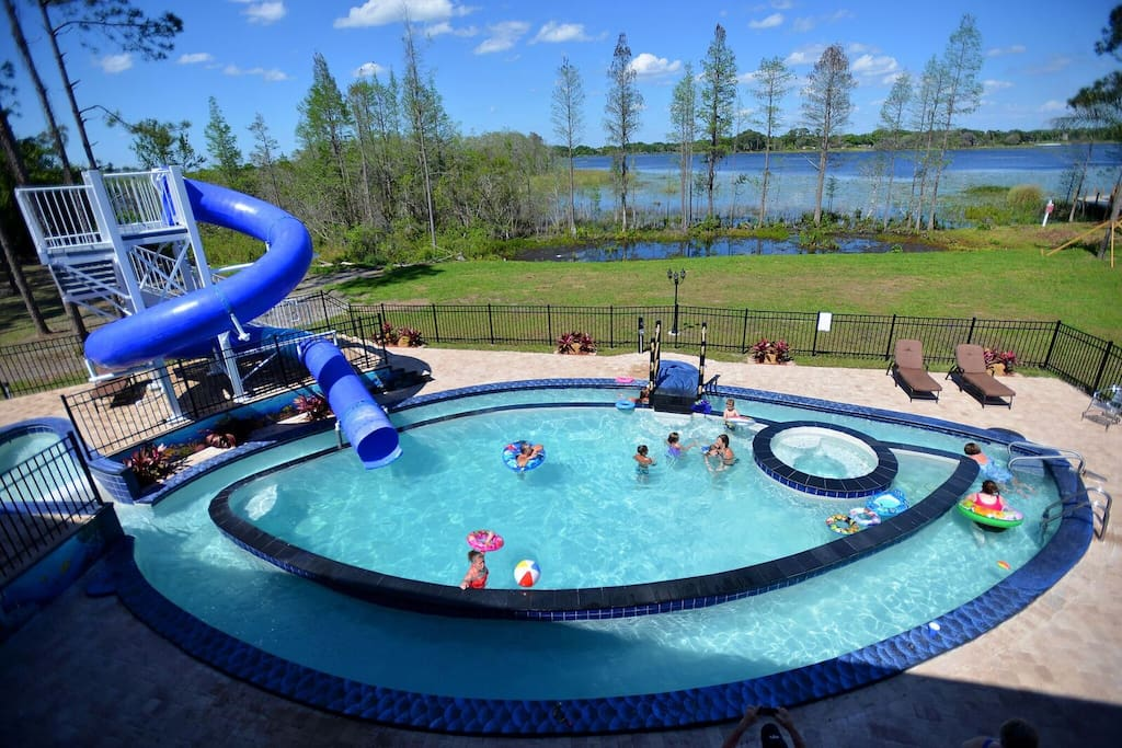 "The ""Go Fish"" Pool has a huge waterslide, PLUS a kiddy waterslide, spa, and lazy river!"