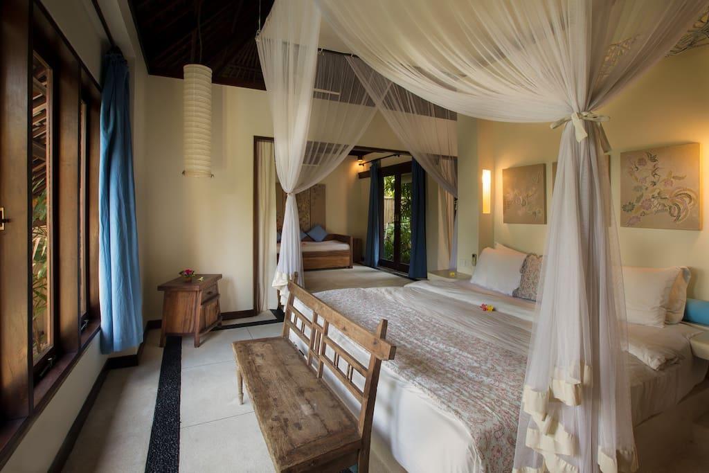 Large bedroom suites with adjacent living