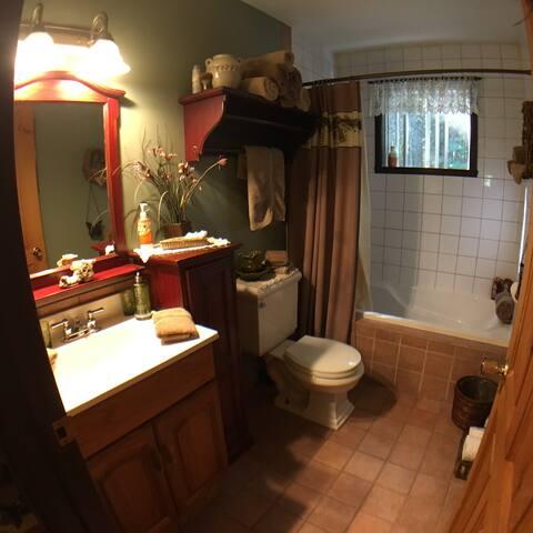 Salle de bain complète avec bain et douche
