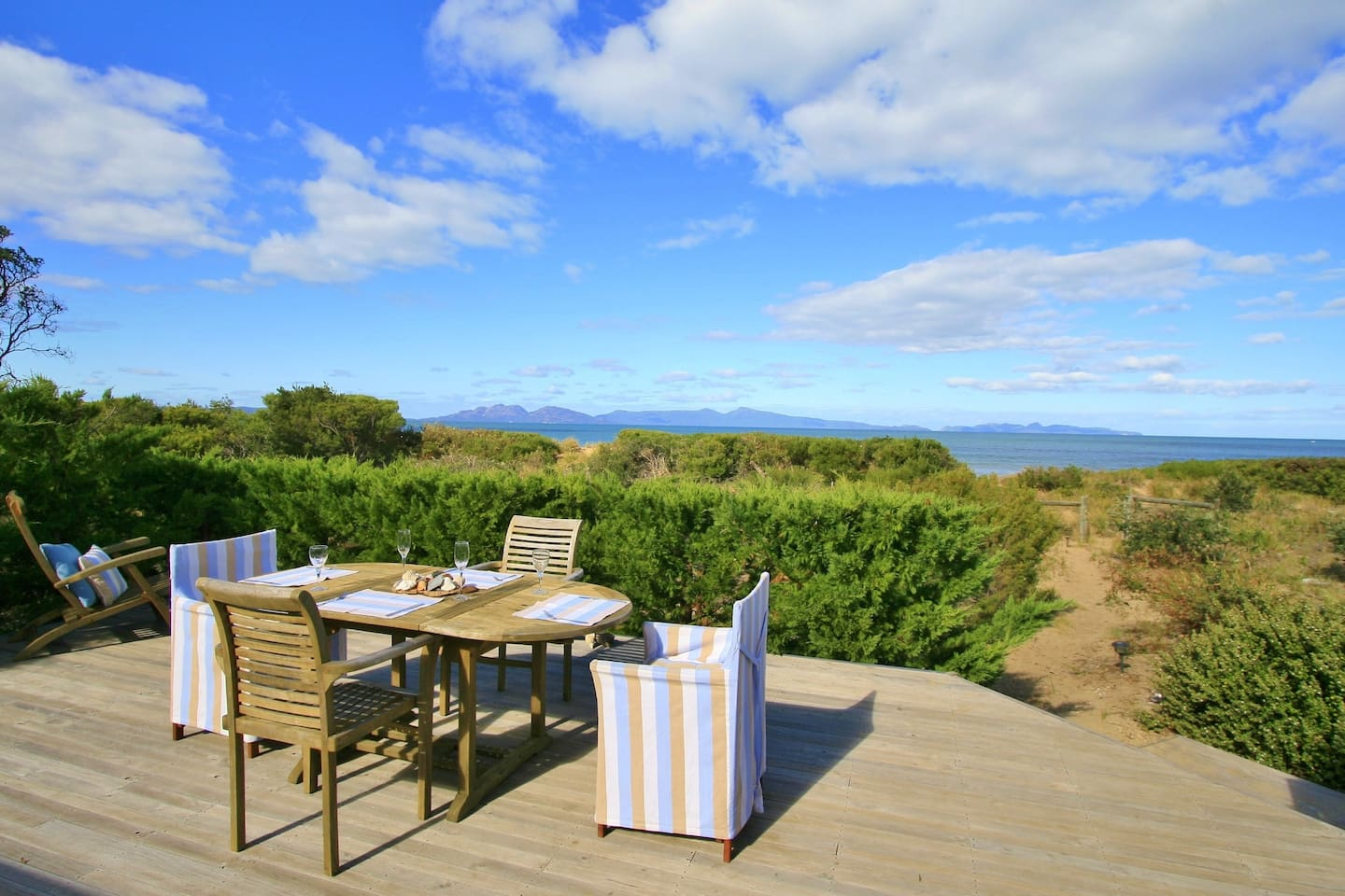 Enjoy a meal on the deck with a view of the Hazards
