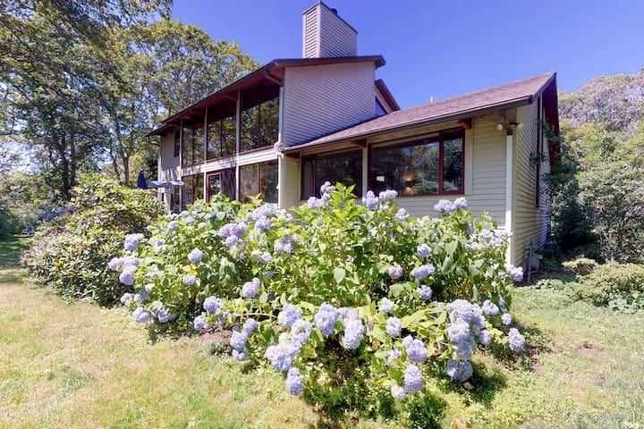 New listing! Mid-century home w/ deck, fireplace & huge windows - 1 dog OK!