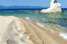 Visit the beautiful beach of Kakoudia, only three minutes drive from the house