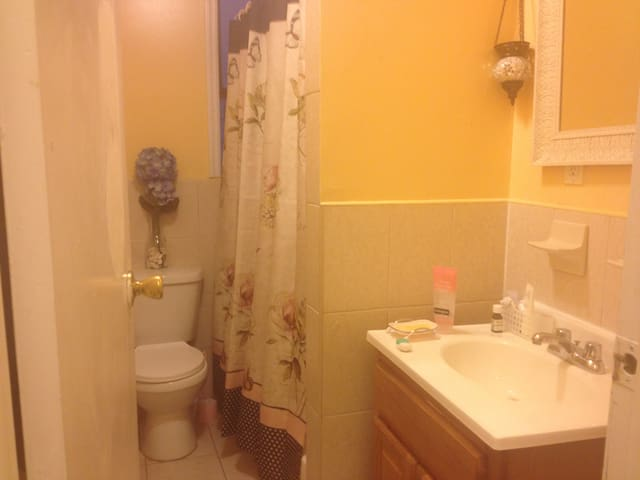 """bathroom is next to """"your"""" room so no need to pass through any rooms to get to it to and from your room..."""