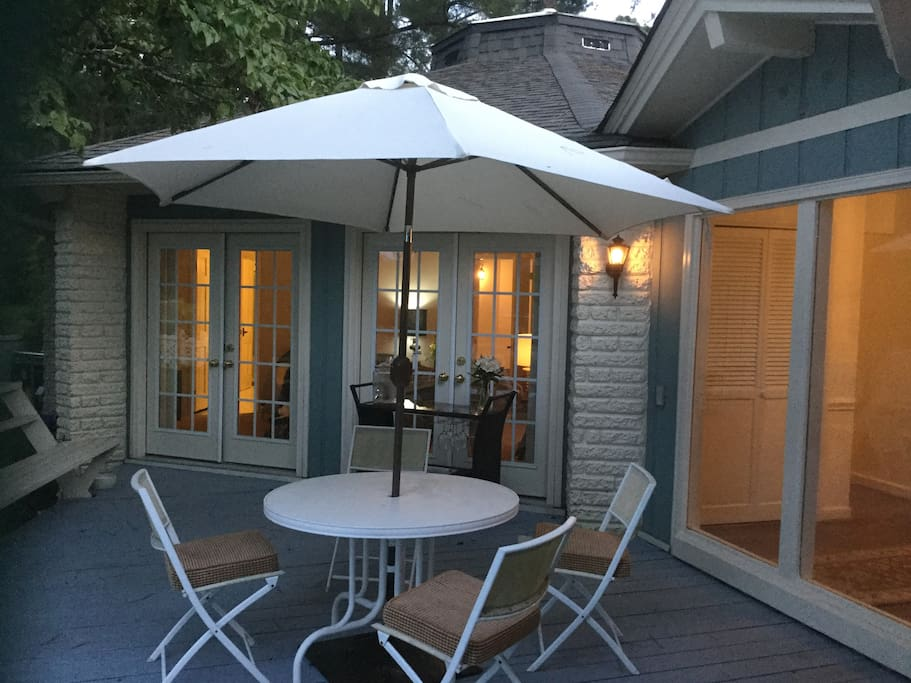 Deck with access to master bedroom and family room