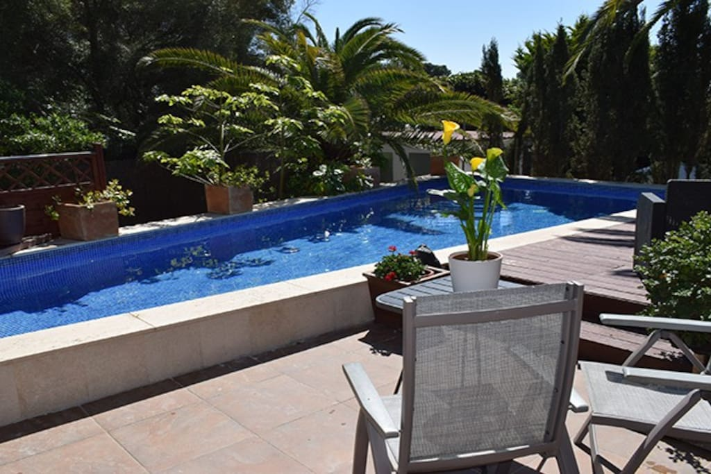 Terrace off pool