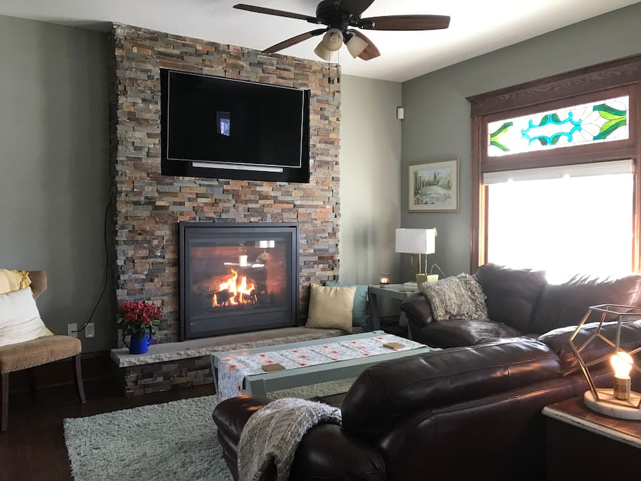Warm up with a glass of wine or hot cocoa in front of the fireplace.
