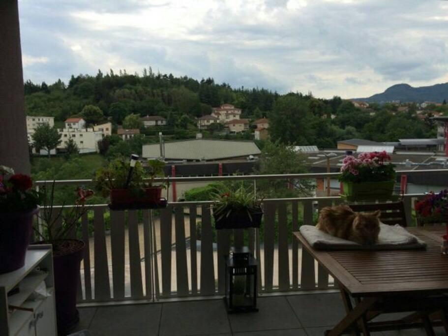 Balcon avec belle vue exposition sud sur parc montjuzet