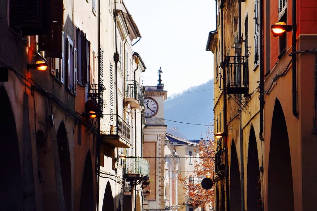 Our apartment is just behind the main street in Pieve do Teco, which has local shops & cafés.