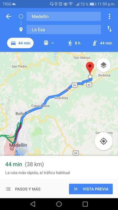 ruta desde Medellín hasta el hospedaje