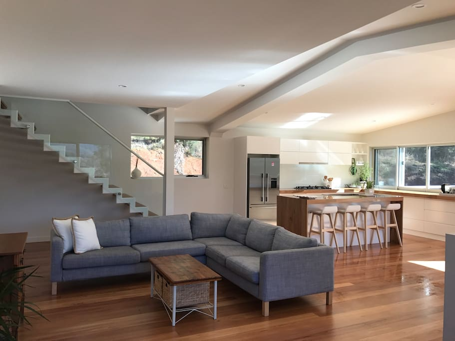 Mid level open plan living area and kitchen