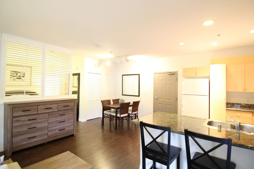 Multiple countertops to dine and work.