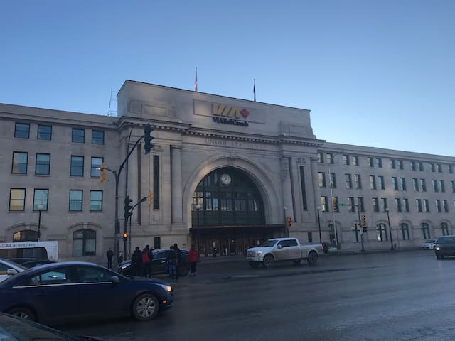 Union Station / Via Rail is just down the street.