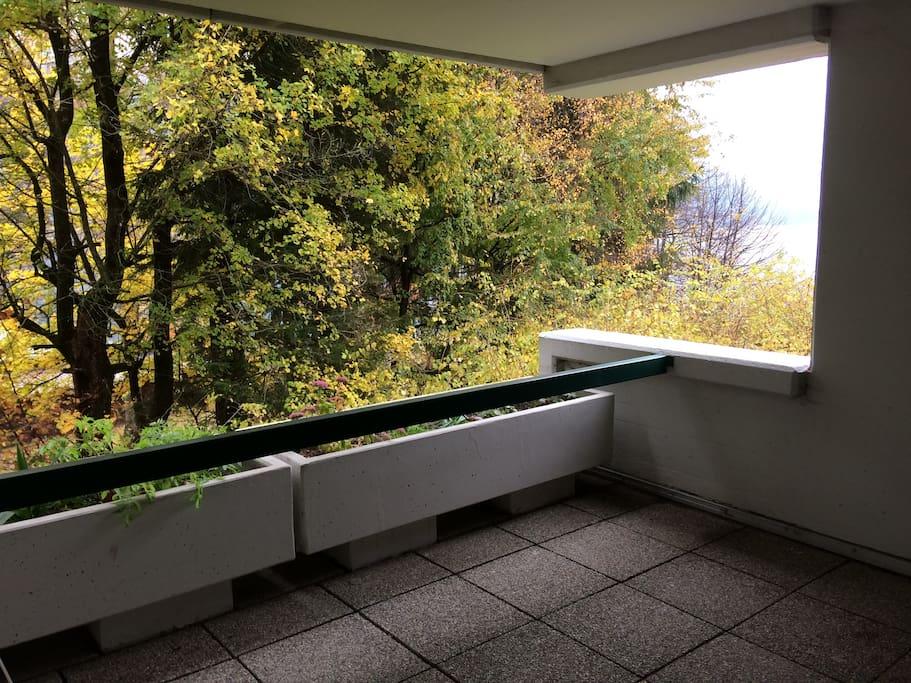 Überdachte Terrasse mit seitlichem Blick auf den See