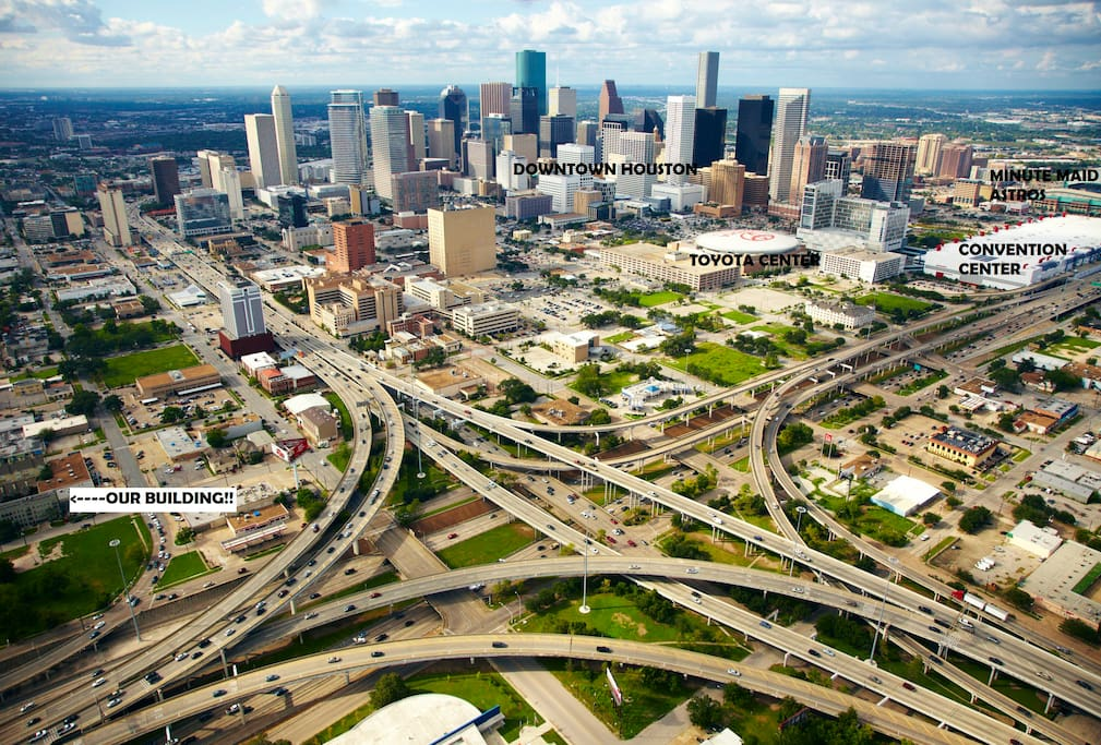 Aerial view of Houston showing our amazing location!!