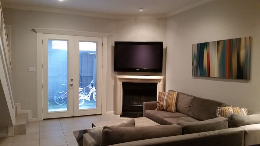Gas fireplace leading to back door