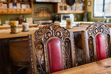 Custom chairs at dining table