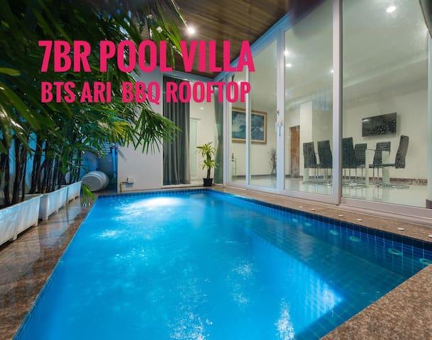 7BR Pool Villa-BTS Ari-BBQ Rooftop Bangkok CBD