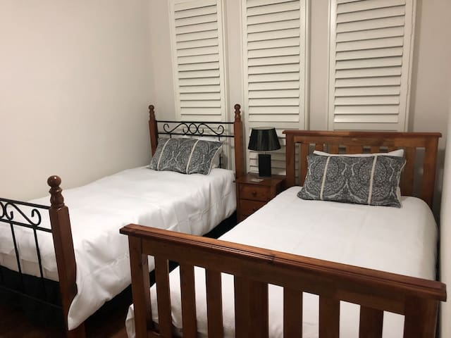 Private lock up room with 2 King Single Beds