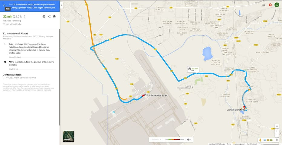 Google Map Direction KLIA-House estimated 22mins