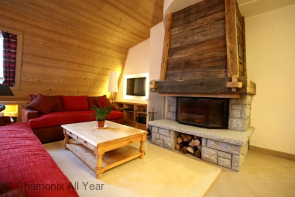 Large lounge with log fire