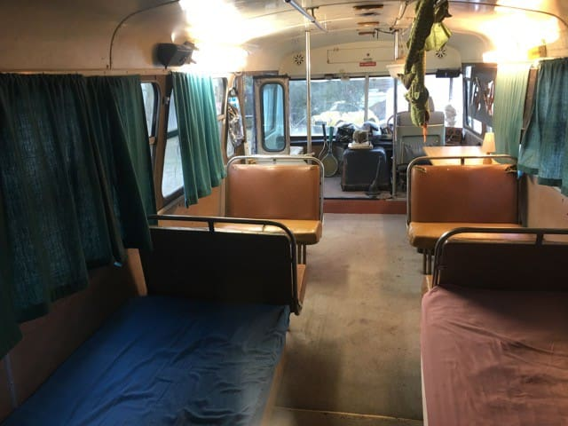 Inside the bus. Two of the beds make great lounges.